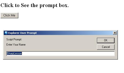 JavaScript popup box prompt