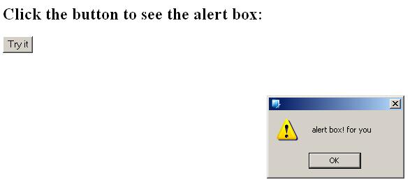 JavaScript popup box alert