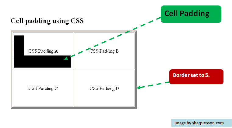 CSS cell padding example.